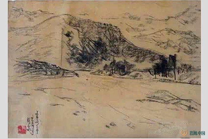 瓷艺术大师尹干炭笔画写生作品图片